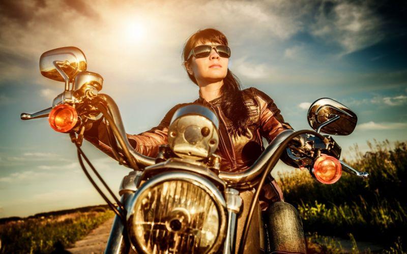 Women & Machines girls-motorcycle-motorcyclist-jacket-glasses-headlights wallpaper