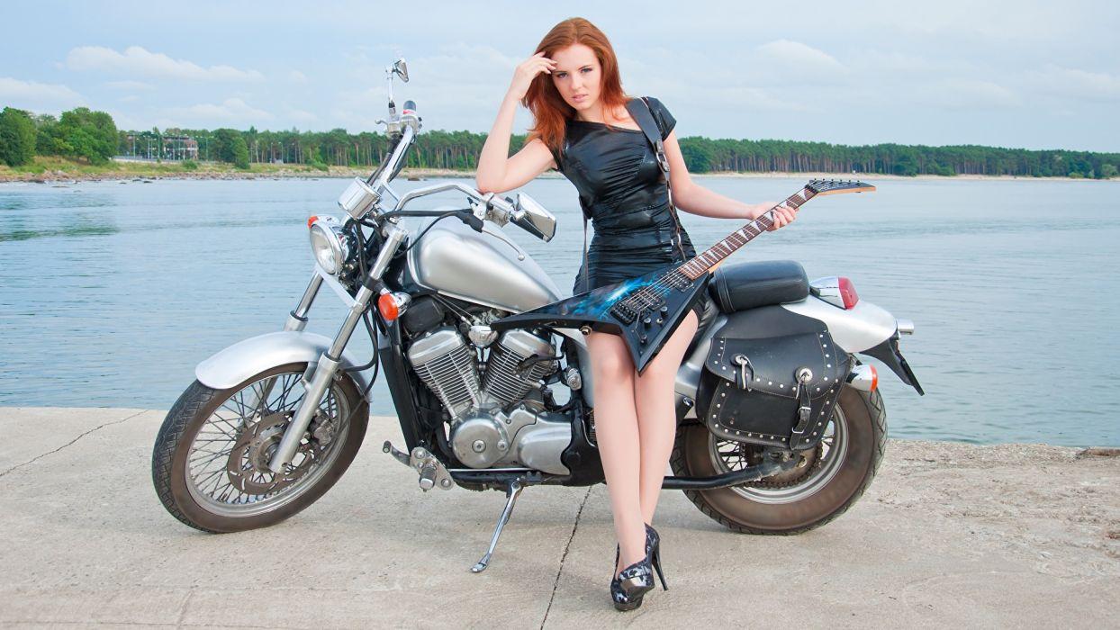 Women Machines Girls Redhead Motorcycle Motorcyclist Dress