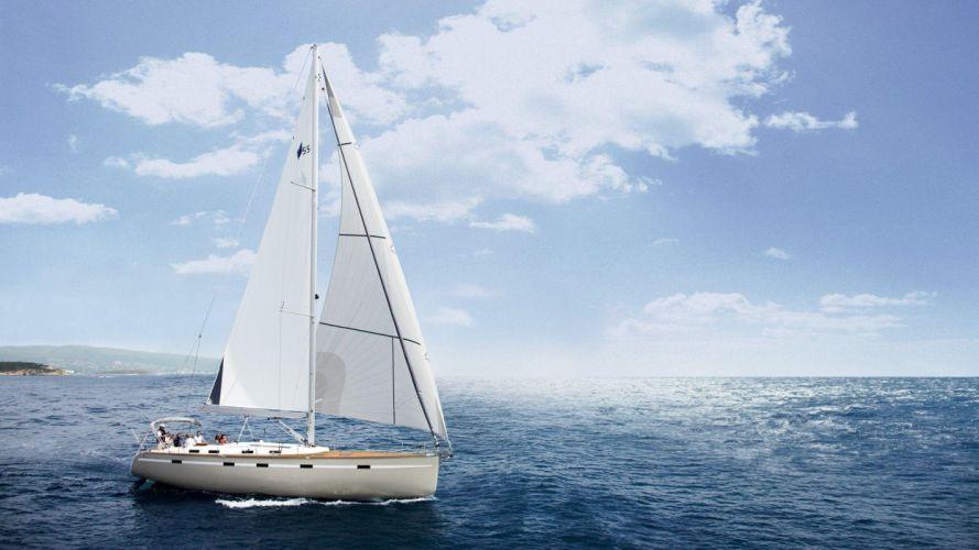 Photography sailboat-sea-ocean-sky-blue-cloude wallpaper