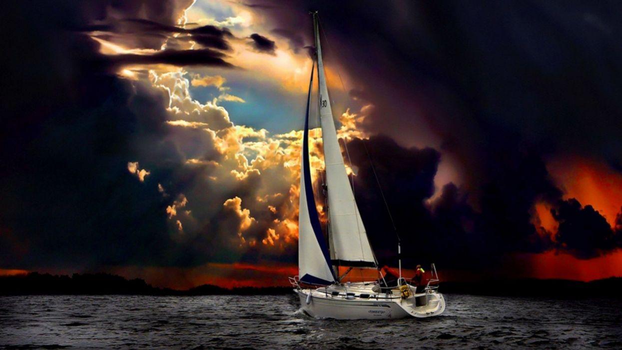 Photography sailboat-sea-ocean-sky-storm wallpaper