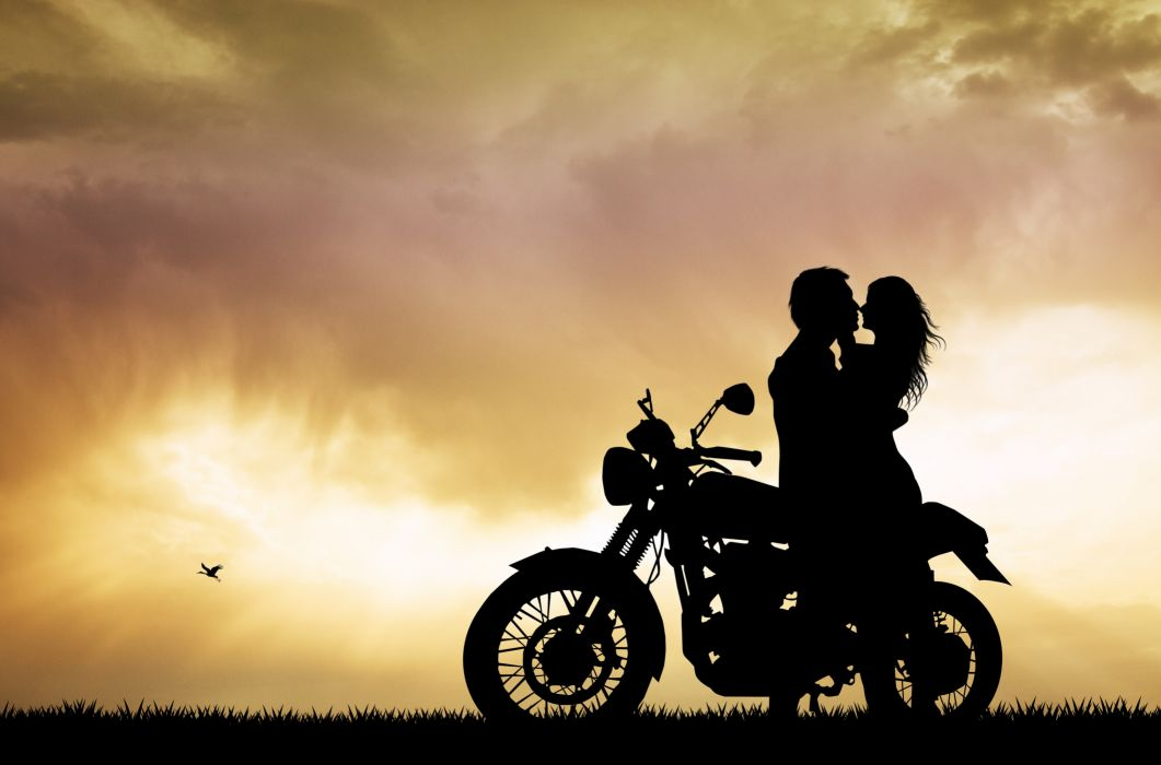 Photography girls-men-motorcycle-motorcyclist-couples-love wallpaper