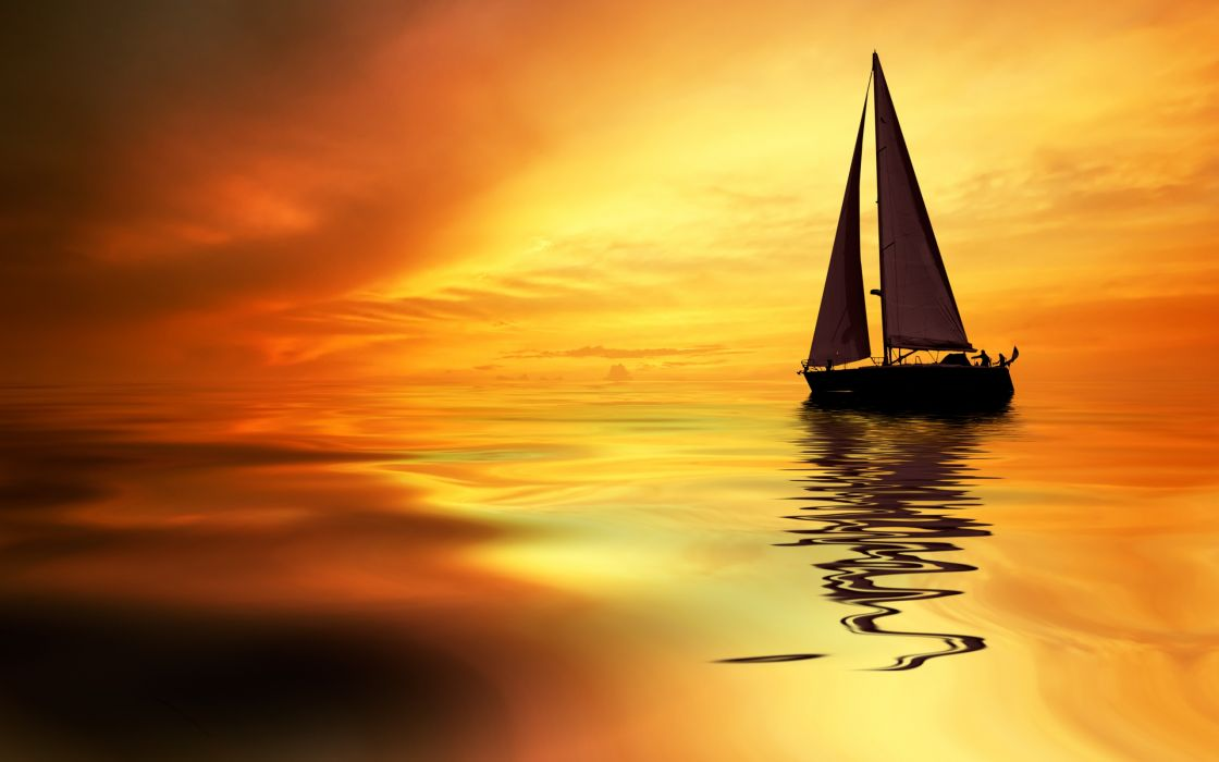 Photography sailboat-sea-ocean-sky-sunset-reflection wallpaper