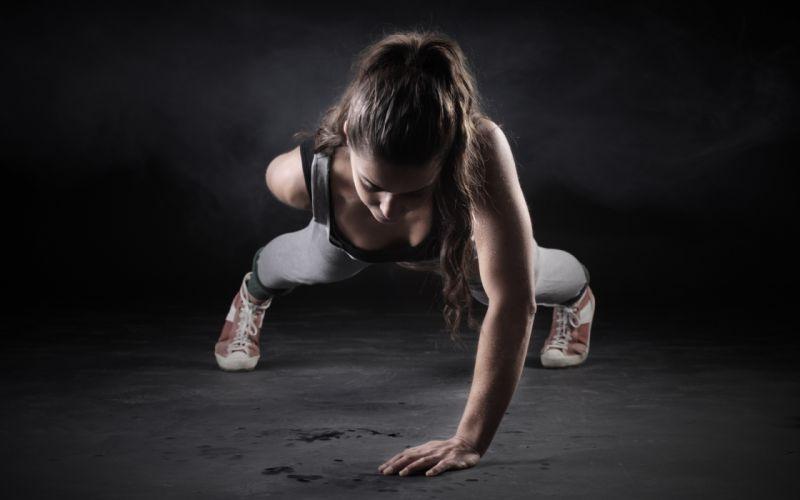 Sports girls-women-brunette-fitness-athletic-body-workout-pushup wallpaper