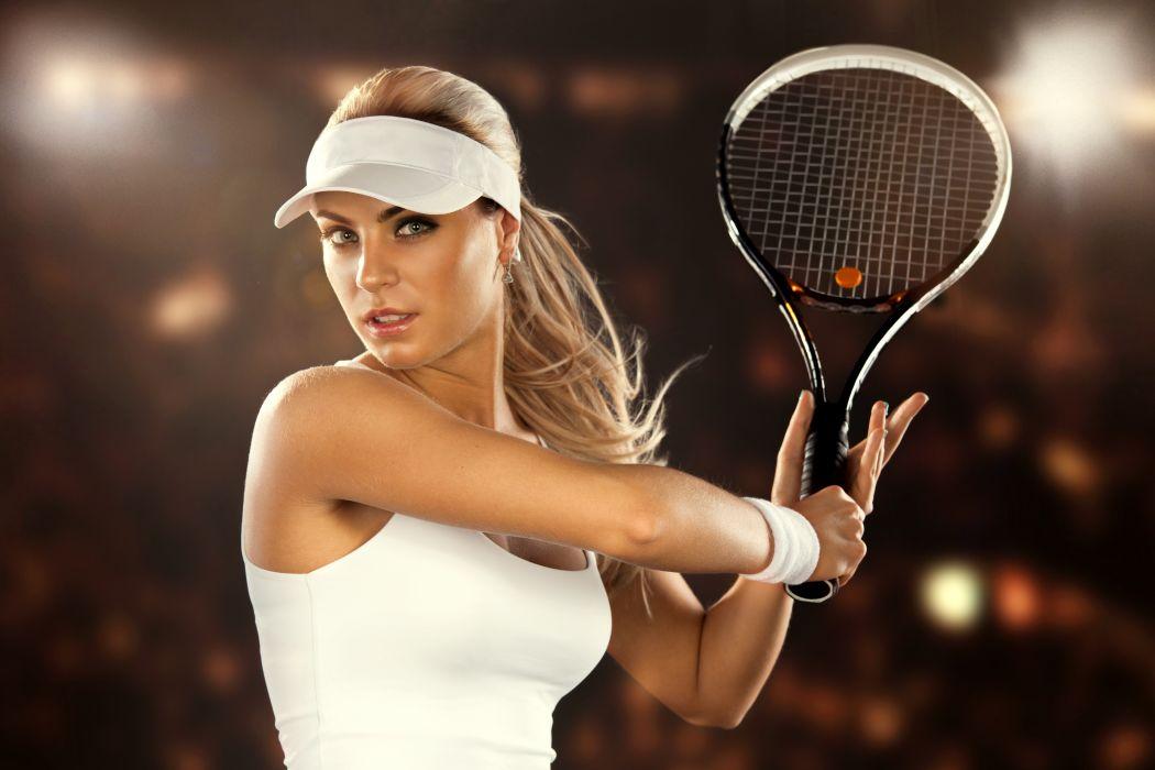Sports girls-women-blonde-fitness-athletic-body-exercise-tennis-racket wallpaper