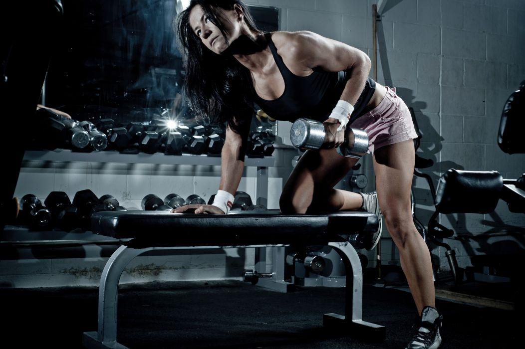 Sports girls-women-brunette-fitness-athletic-body-bodybuilding-workout-dumbbells wallpaper
