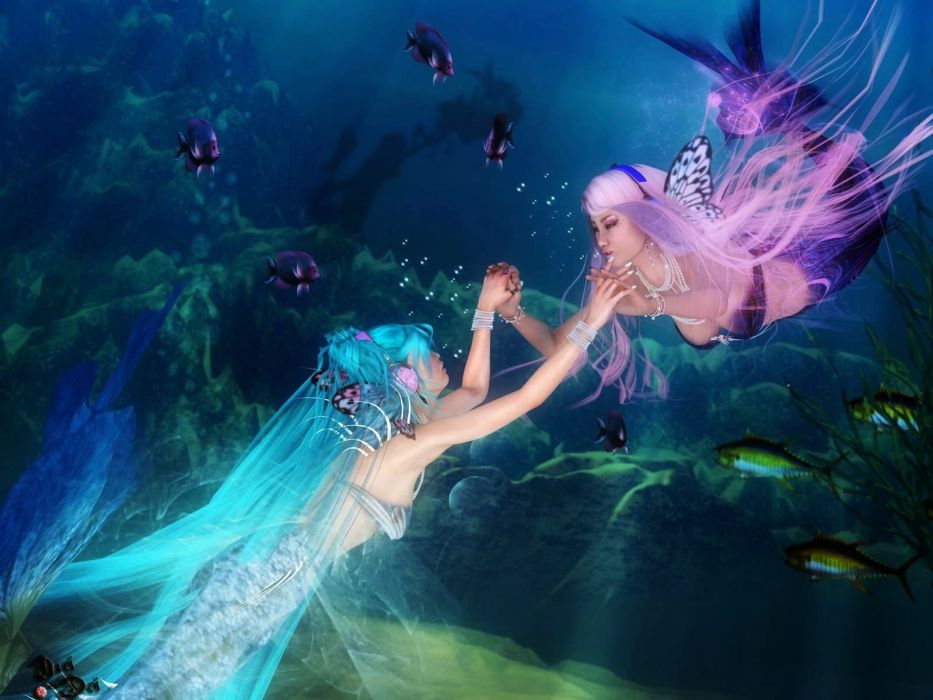 2 sirenas bailando fantasia mar wallpaper