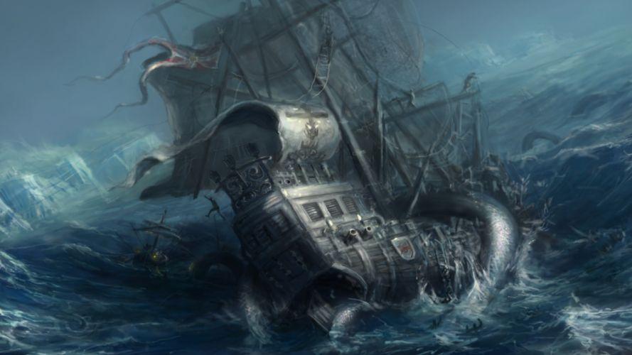 craken barco tentaculos fantasia wallpaper