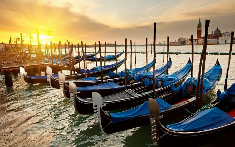 gondolas venecia italia puesta sol wallpaper
