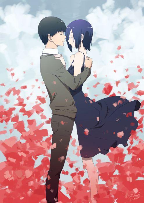 original anime couple girl dress guy wallpaper