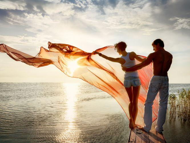 pareja amor velo amanecer wallpaper