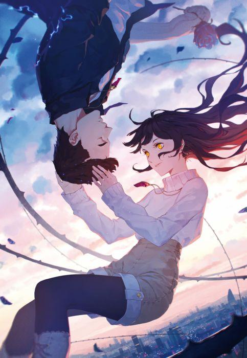 daye+bie+qia+lian original anime couplr gitl guy wallpaper