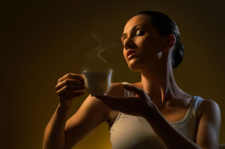 Photography girls-women-aroma-hot-coffee-cup-smoke-pose wallpaper