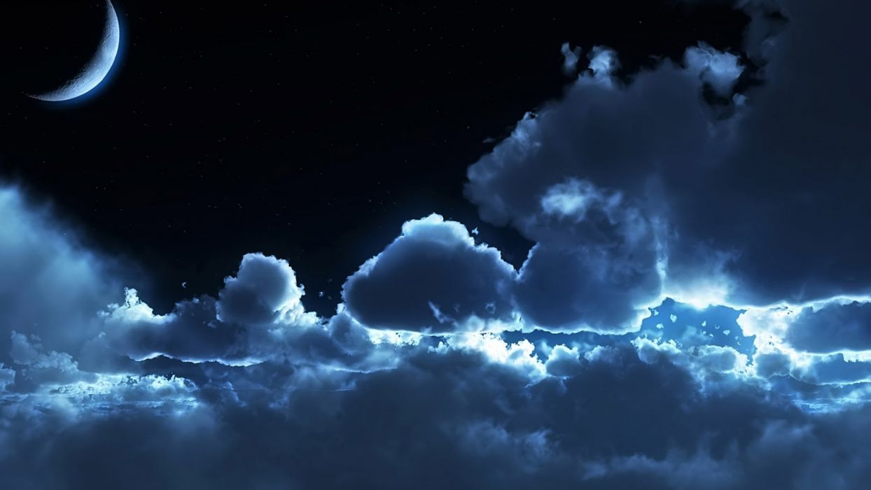 Photography nature-sky-cloud-moon-night wallpaper