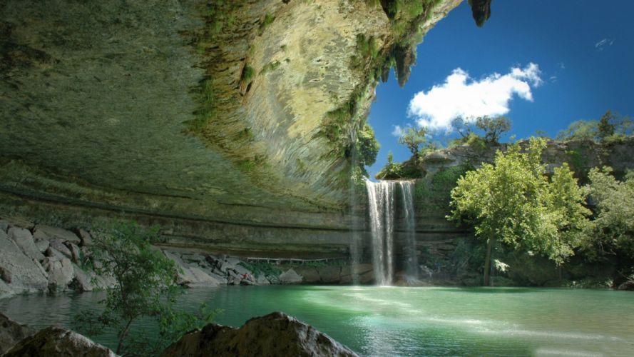 Photography nature-sky-cloud-lake-waterfall wallpaper