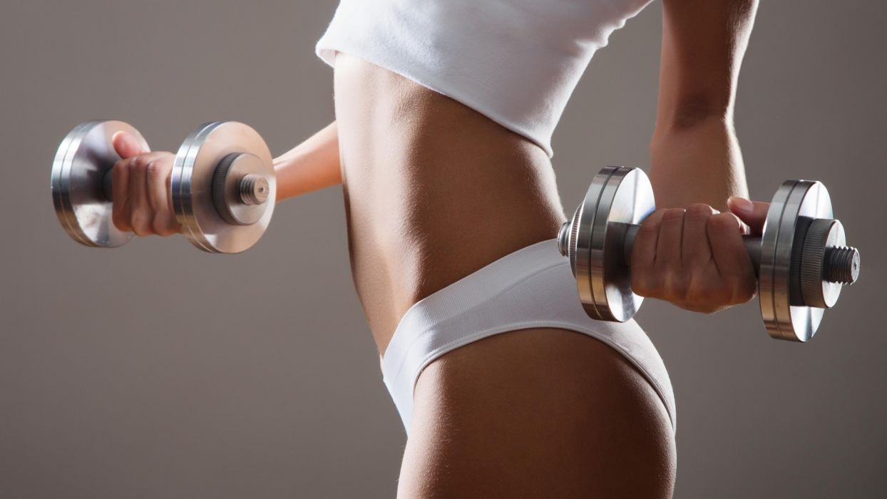 Sports girls-women-sexy-dumbbells-fitness-belly wallpaper