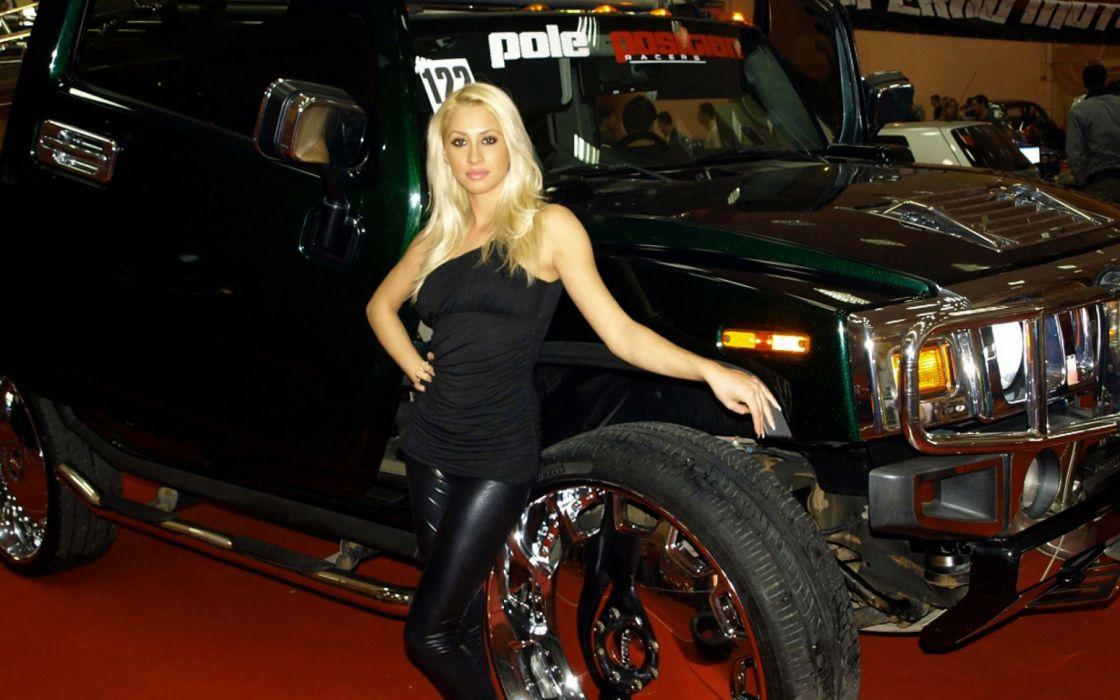 Women & Machines girls-sexy-blonde-model-posing-hammer wallpaper