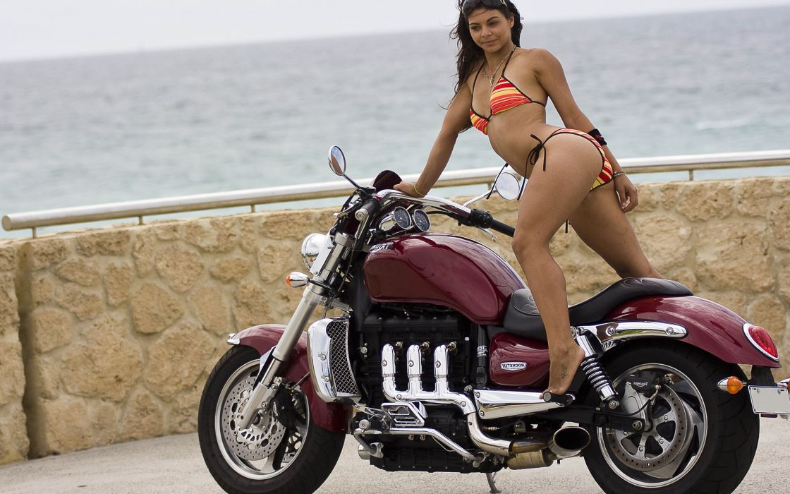 Women & Machines girls-sexy-brunette-model-body-bikini-posing-sea-motorbike-motorcycle wallpaper