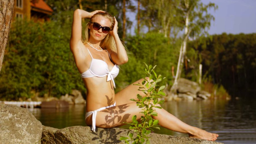 Sensuality girls-women-sexy-blonde-lake-stone-swimsuit-bikini wallpaper