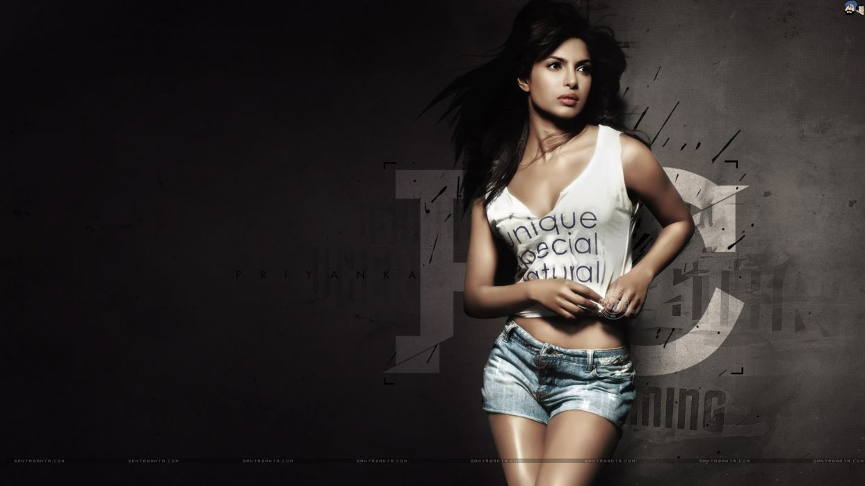 Sensuality girls-women-sexy-brunette-Priyanka Chopra-shirt-short-jeans wallpaper