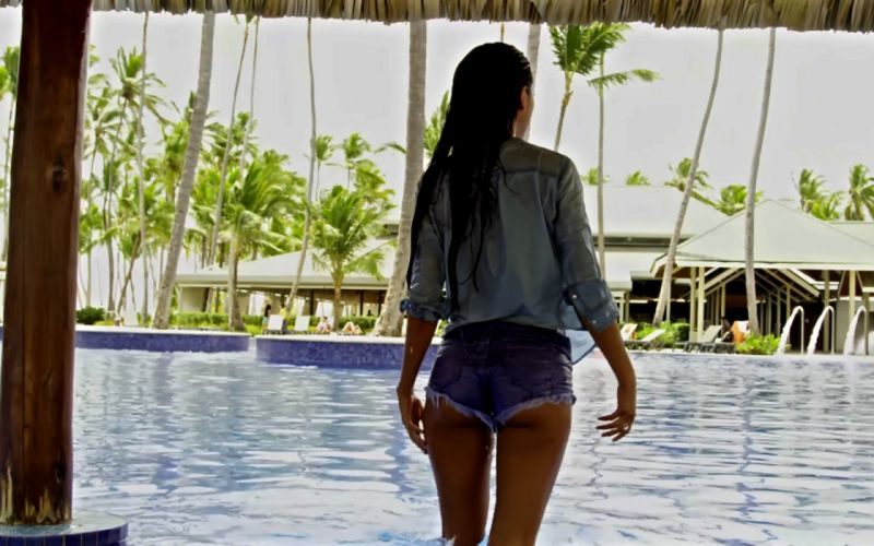Sensuality girls-women-sexy-brunette-pool-short-shirt-wet wallpaper