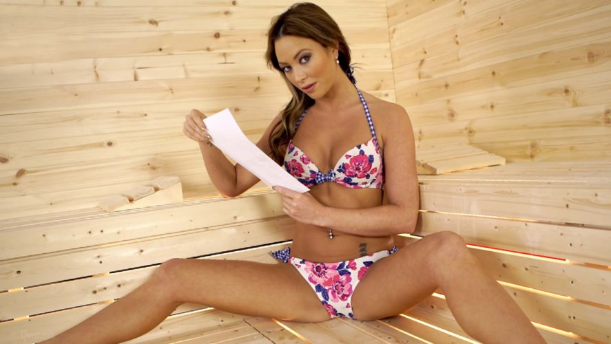 Sensuality girls-women-sexy-brunette-sauna-swimsuit-read wallpaper