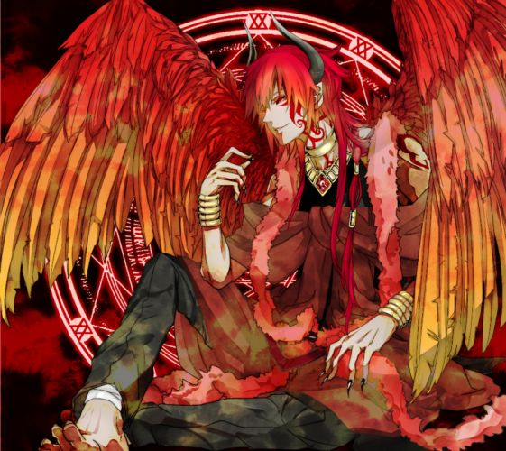 original niimo long hair red eyes fringe wings wallpaper