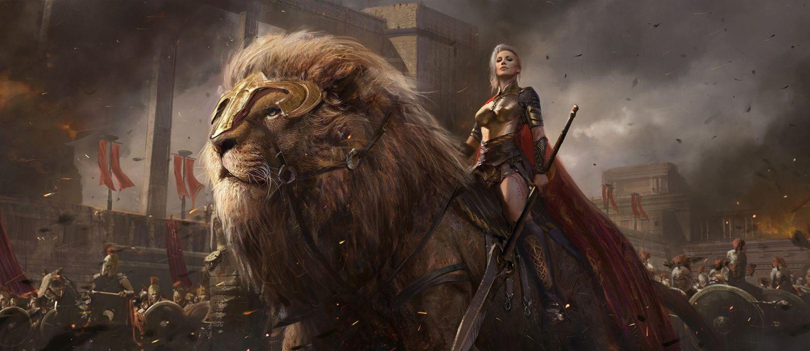 sean-shi artstation original fantasy art girl beautiful warrior lion shuo SHI wallpaper