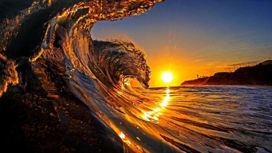 Wave nature beauty sunset holiday wallpaper