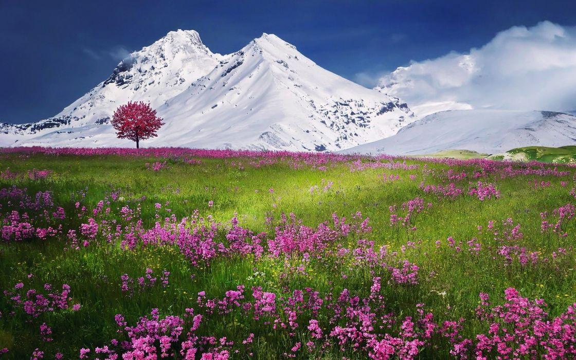 Snow Mountains Beautiful Scenery Wallpaper
