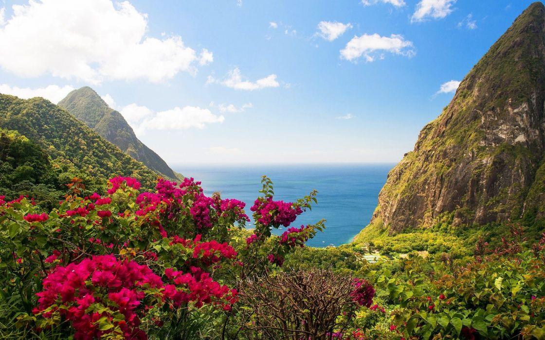 Beautiful Island Mountain Landscape wallpaper