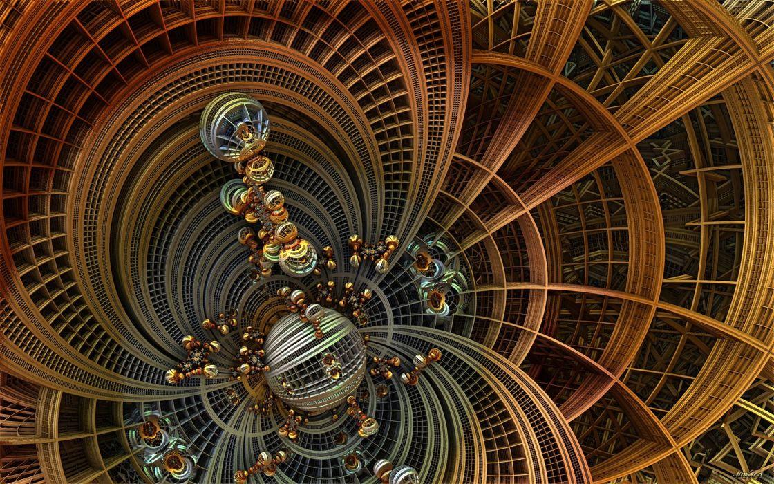 esferas fractal abstracto trazos wallpaper