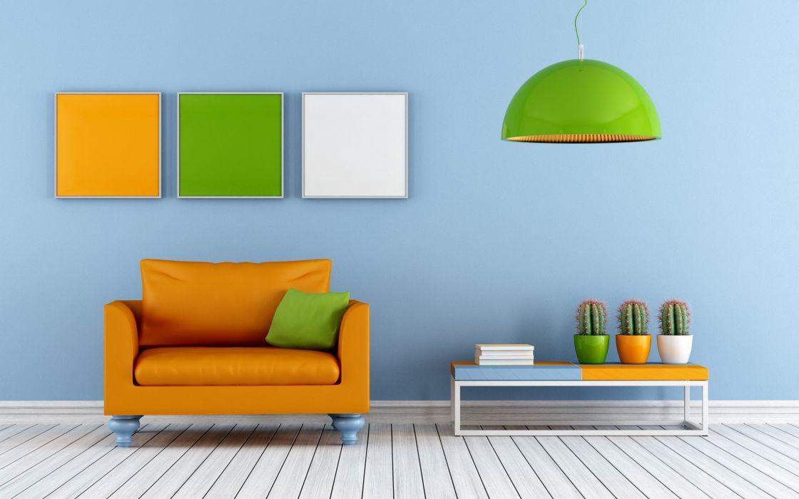Orange Living Room Design wallpaper