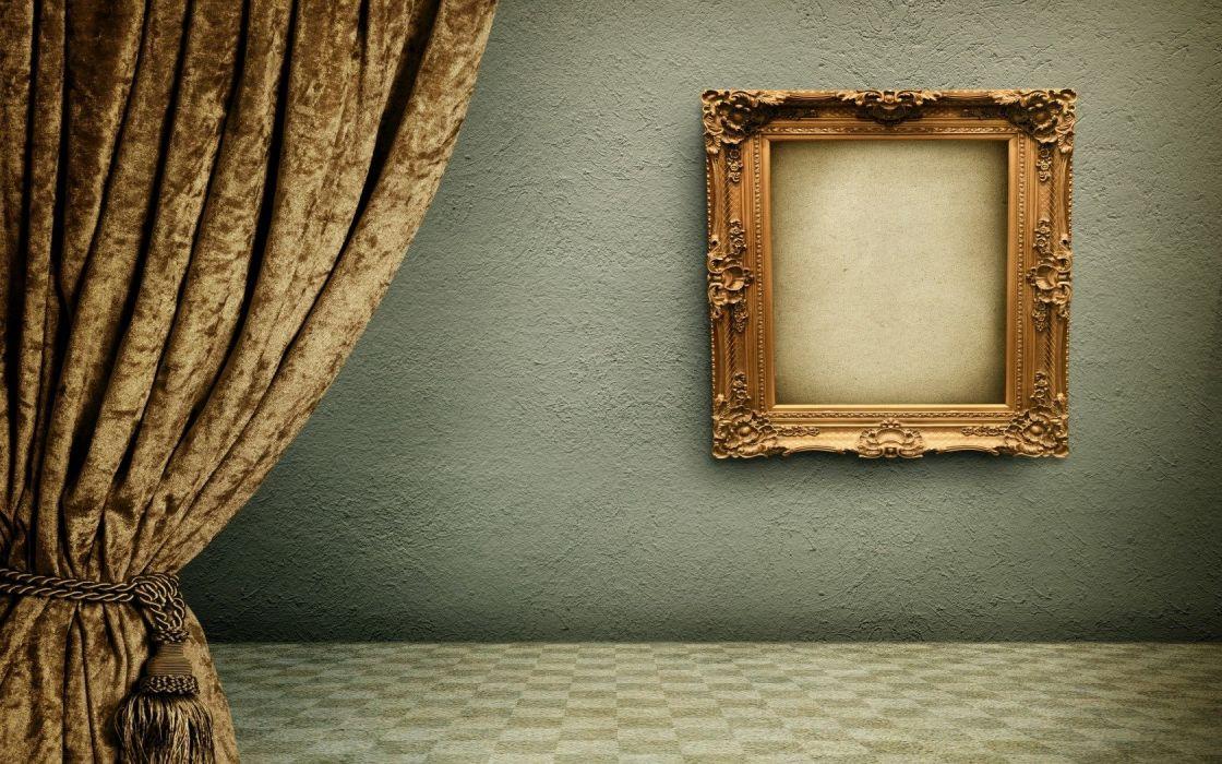 Vintage Frame Curtains Room Design wallpaper