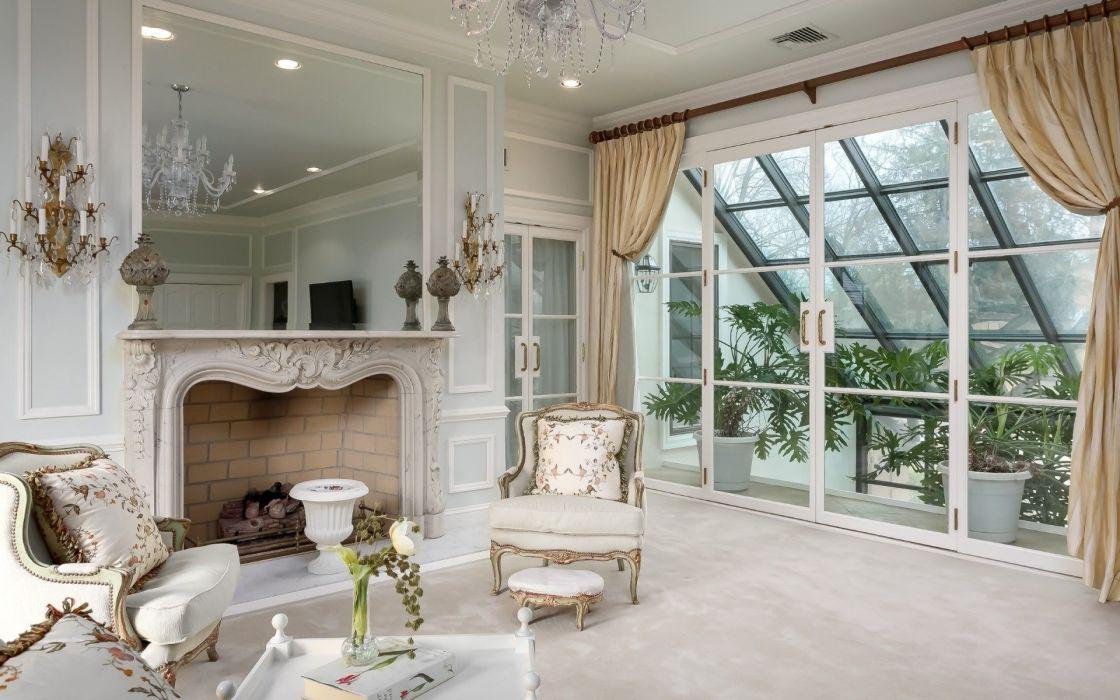 White Living Room Interior Design wallpaper