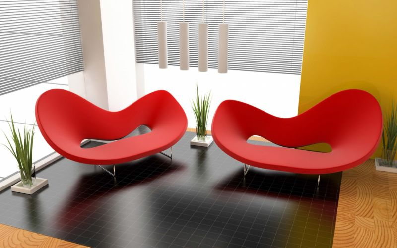 Red Couch Modern Sofa Design wallpaper