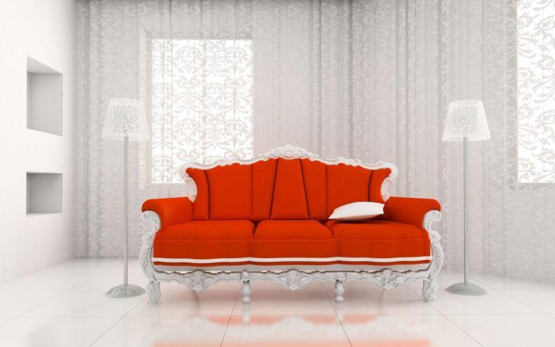 Classic Sofa and White Room wallpaper