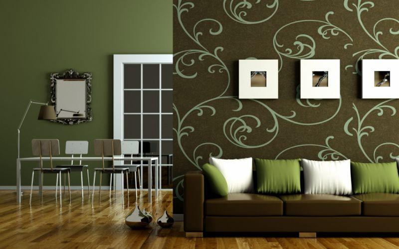 Olive Green Living Room Design wallpaper