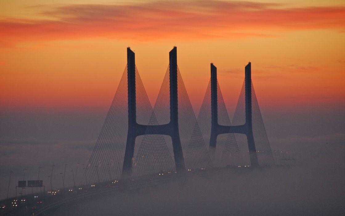 bridge fog light sky wallpaper