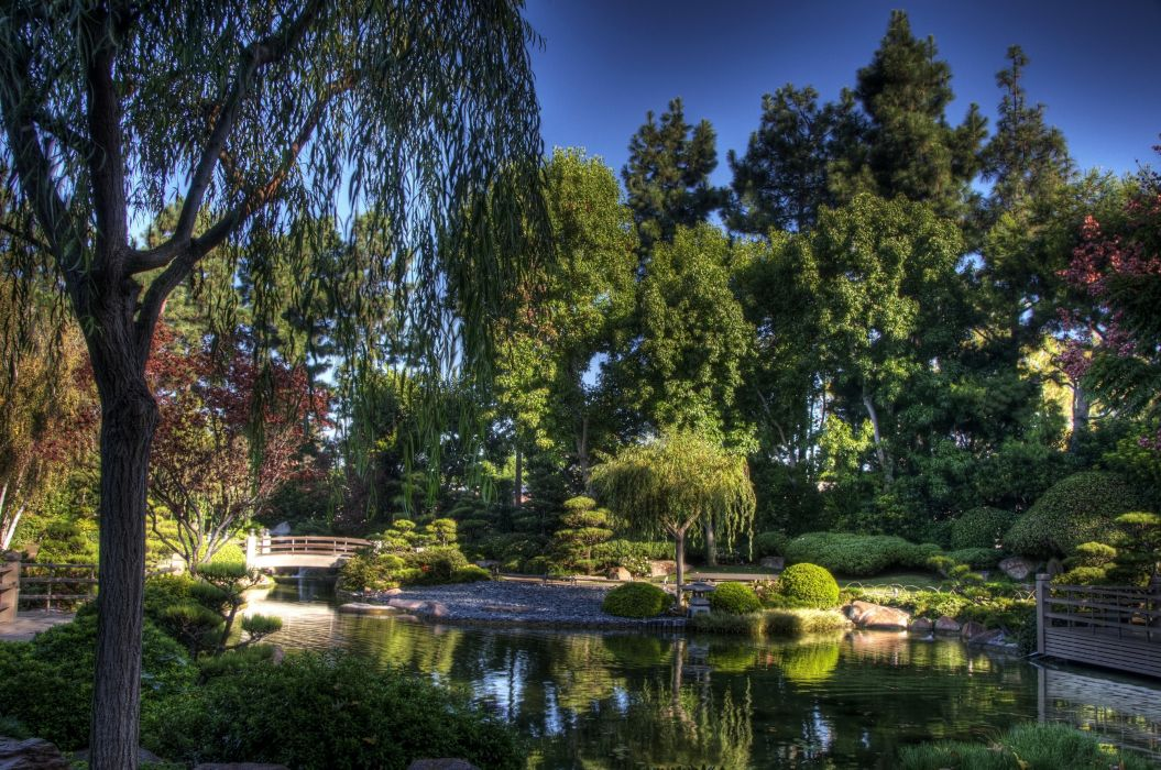 bridge garden trees pond sky wallpaper