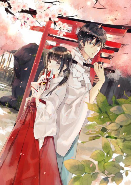 Kafuu original anime girl beauty kimono couple boy wallpaper