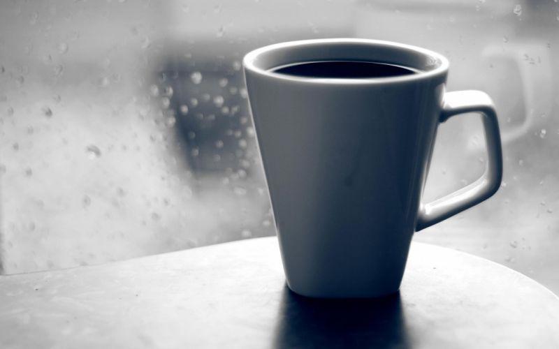 Coffee Mug Glass Window Drops Rain Grief Black-and-white wallpaper