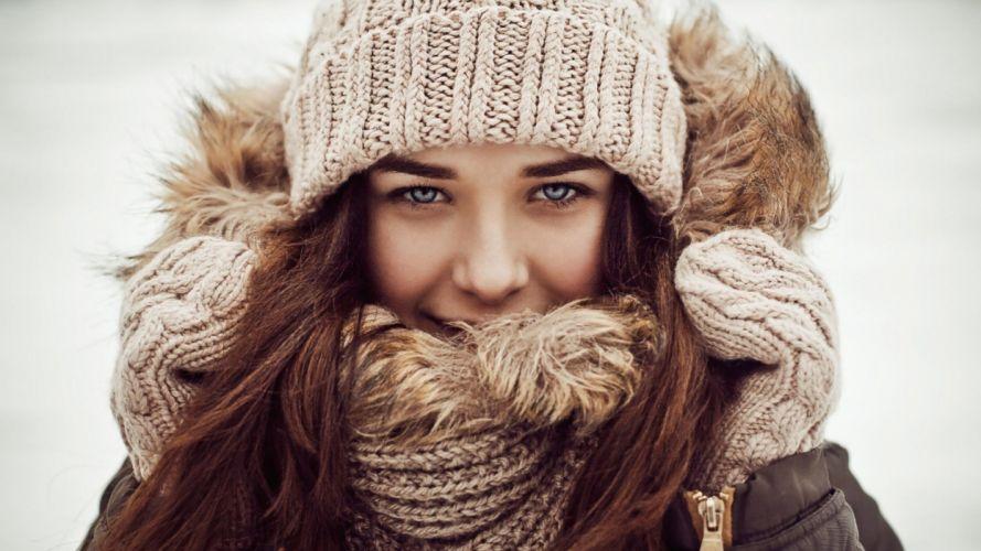 girl scarf hat winter brunette wallpaper