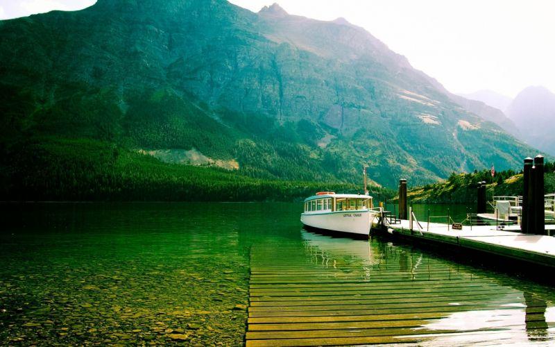 lake mountains bottom transparent water boat walking wallpaper