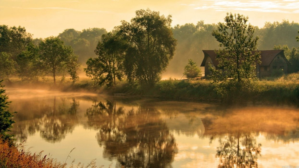 Houses landscapes nature rivers trees wallpaper