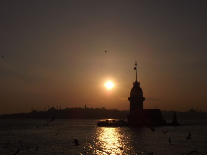 Istanbul turkey backlights cityscapes girltower original wallpaper