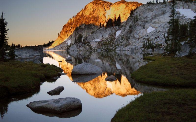 mountains stones water shades rocks coast wallpaper