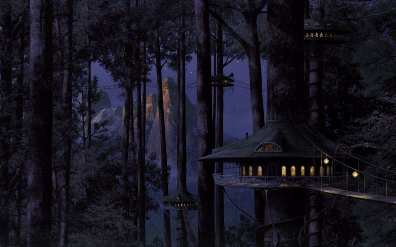 house tree light wood night wallpaper