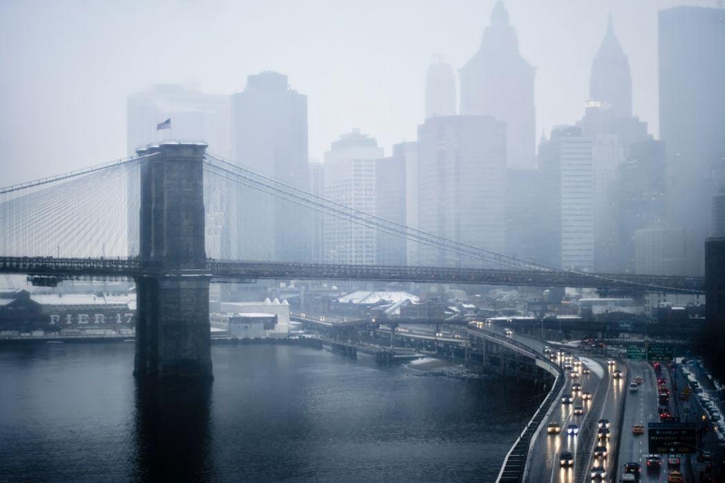 new york bridge fog rain wallpaper