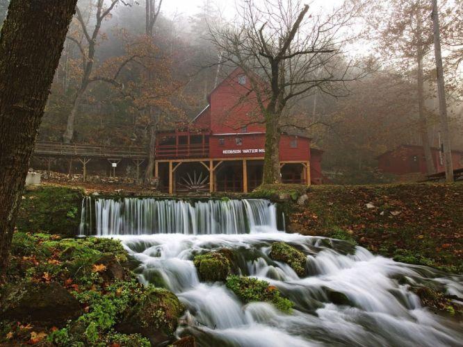 World architecture moss waterfalls missouri mills wallpaper