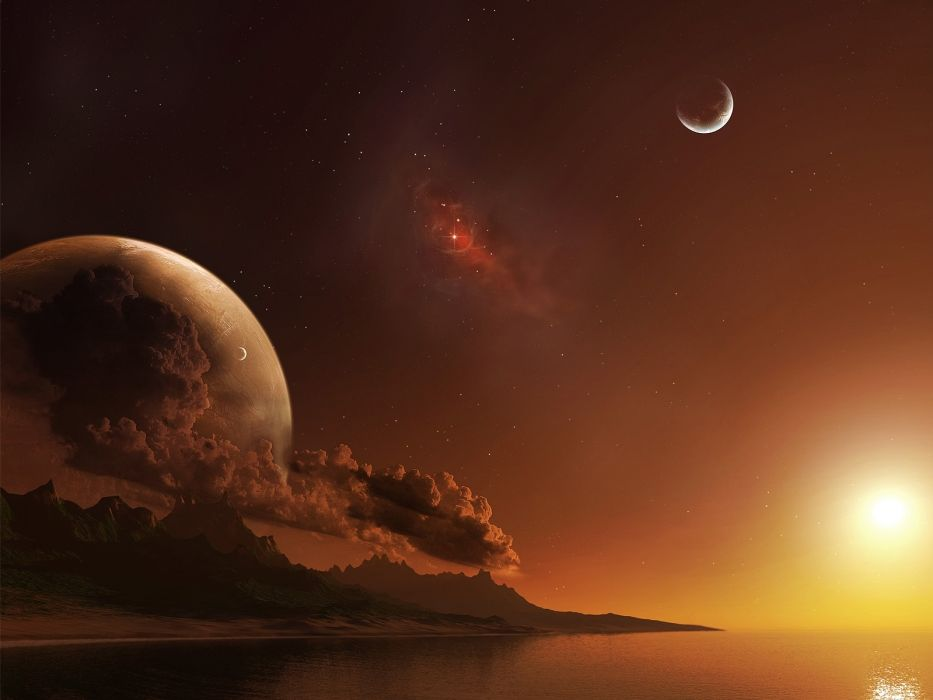 water surface sky planets stars wallpaper